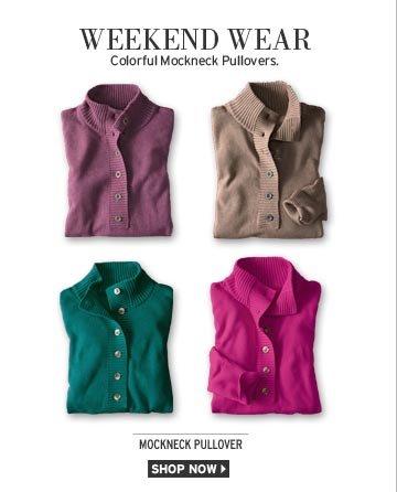 Solid Mockneck Pullover