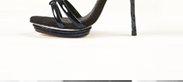 Party Black Strippy Sandals