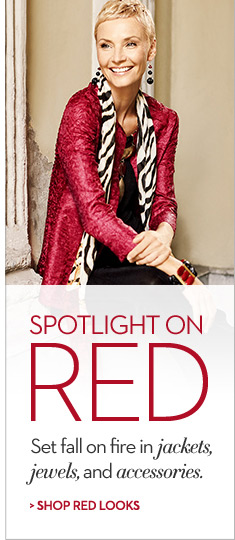 Spotlight on RED Set fall on fire in jackets, jewels and accessories…  SHOP RED LOOKS