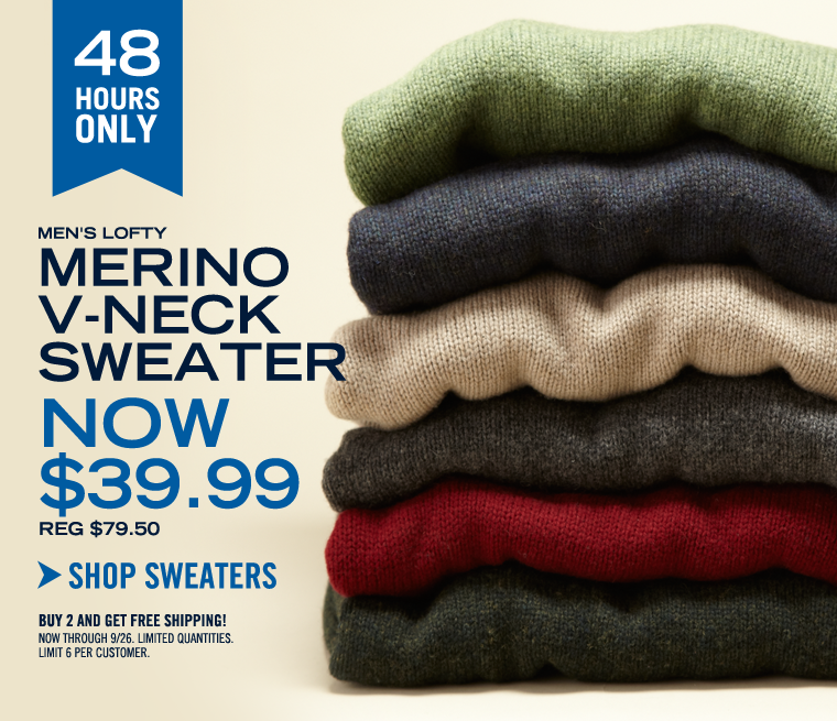48 HOURS ONLY! Men's Lofty Merino Sweater NOW $39.99!