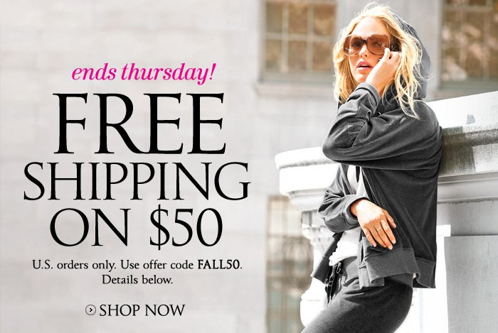 Ends Thursday! Free Shipping on $50