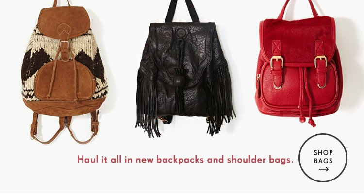 Haul it all in new backpacks and shoulder bags