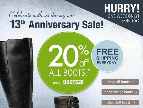 Anniversary sale - 20% off boots!