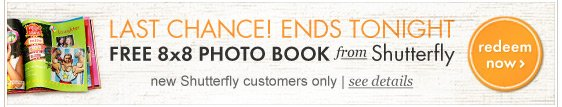 Last chance! Free photobook from Shutterfly ends tonight.