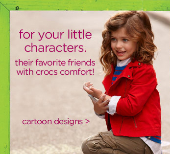 for your little characters. their favorite friends with crocs comfort! cartoon designs