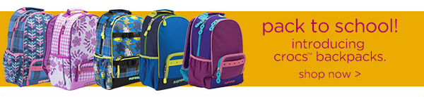 pack to school! introducing crocs backpacks. shop now