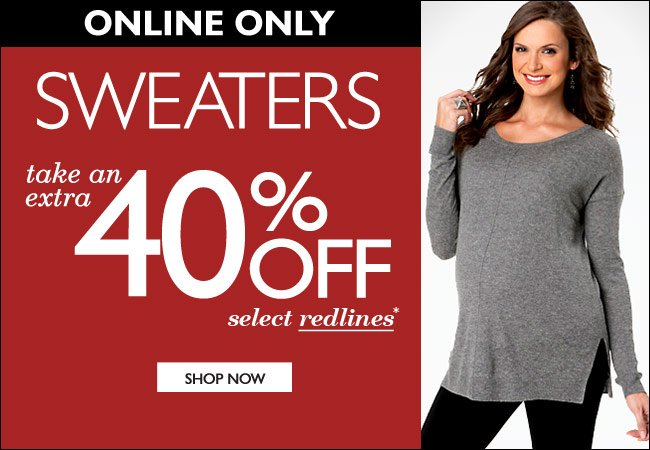 Online Only: Sweaters - Take an Extra 40% Off Select Redlines