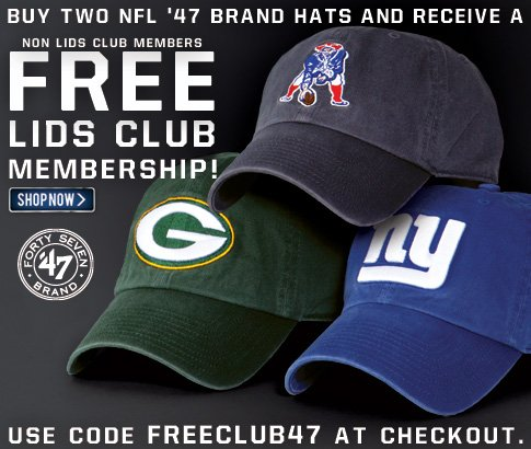 Buy two NFL '47 Brand hats and receive a free LIDS Club Membership!