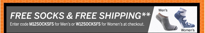 Free shipping and free socks with promo codes M12SOCKS for men's and W12SOCKS for women's