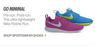GO MINIMAL   Pre-run. Post-run. The ultra-lightweight Nike Roshe Run.   SHOP SPORTSWEAR SHOES