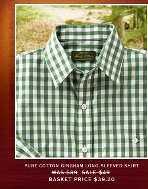 Pure Cotton Gingham Long-Sleeved Shirt | Was $89 Now $69 Basket Price $55.20