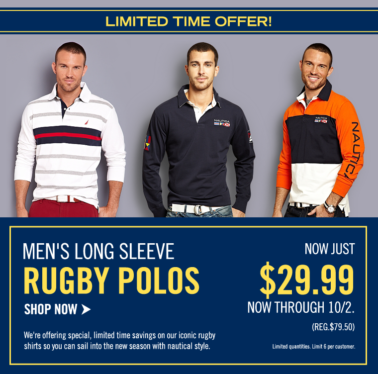LIMITED TIME ONLY! Men's Rugby Polos NOW $29.99. Ends 10/2. Shop now >