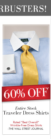 60% OFF* Entire Stock Traveler Dress Shirts
