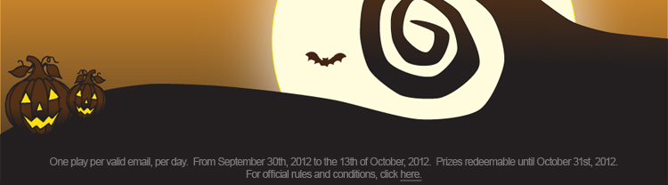 One play per valid email, per day.  From Sep 30th 2012 to October 13th, 2012.  Prizes redeemable until Oct 31st, 2012
