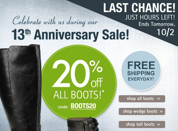 Hurry - 20% off boots ends soon!