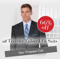 66% off all Traveler Tailored Fit Suits