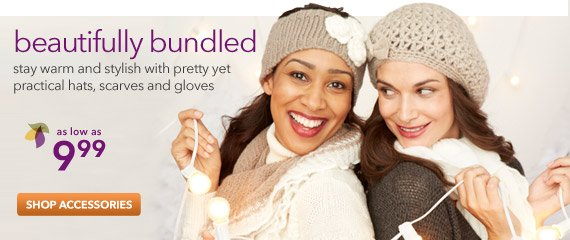 Stay warm and stylish with pretty yet practical hats, gloves and scarves!