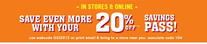 20% Off Savings Pass