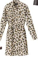 LEOPARD GABARDINE SHIRT DRESS