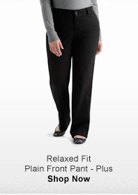 RELAXED FIT PLAIN FRONT PANT - PLUS