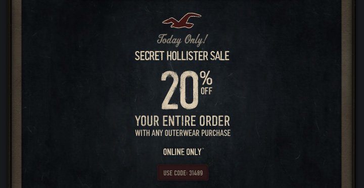 SECRET HOLLISTER SALE 20% OFF