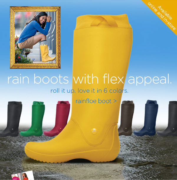 rain boots with flex appeal. roll it up. love it in 6 colors. rainfloe boot
