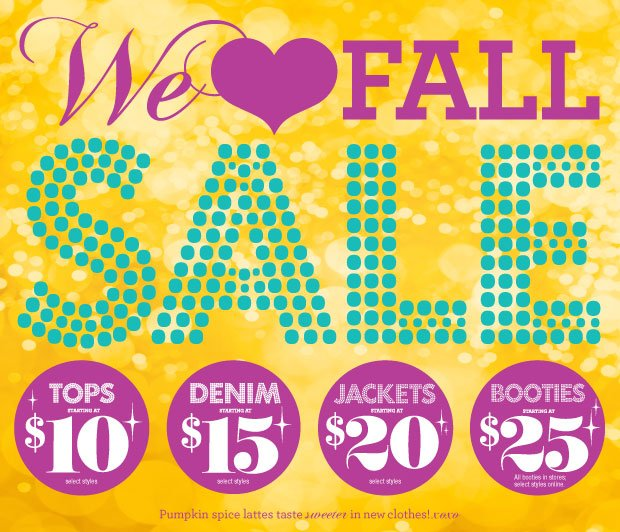 We ♥ Fall Sale! Tops starting at $10 and More!