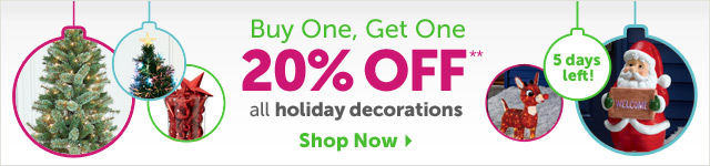 Buy One Get One 20% OFF** all holiday decorations - Shop Now