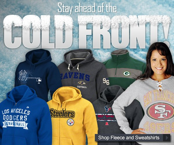 Stay Ahead of the Cold Front! Shop Fleece and Sweatshirts