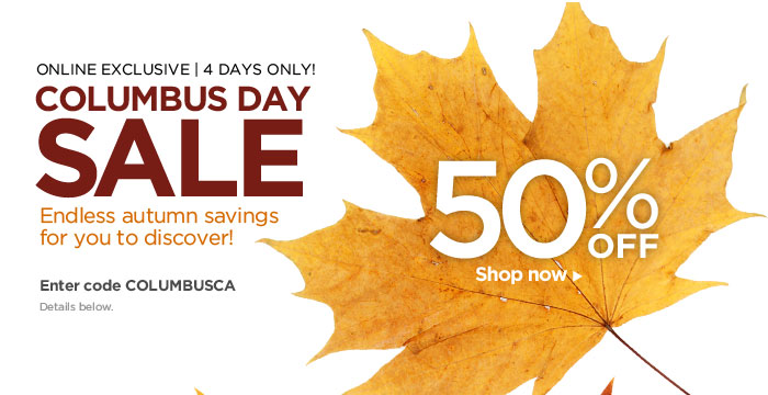 COLUMBUS DAY SALE! 50% OFF – Shop now!