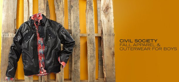 CIVIL SOCIETY:  FALL APPAREL & OUTERWEAR FOR BOYS, Event Ends October 9, 9:00 AM PT >