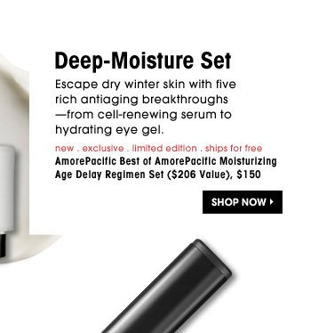 Deep-Moisture Set. Escape dry winter skin with five rich antiaging breakthroughs-from cell-renewing serum to hydrating eye gel. new . exclusive . limited edition . ships for free | AmorePacific Best of AmorePcific Moisturizing Age Delay Set ($206 Value), $150. Shop Now