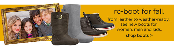 re-boot for fall. from leather to weather-ready, see new boots for women, men and kids. shop boots