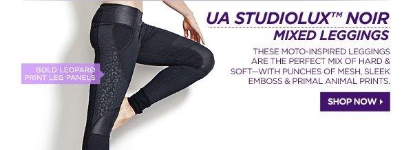 UA STUDIOLUX™ NOIR MIXED LEGGINGS. SHOP NOW.