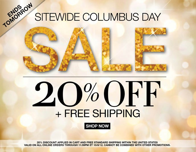 Ends Tomorrow Columbus Day Sale: 20% Off + Free Shipping