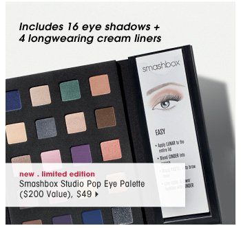 includes 16 eye shadows + 4 longwearing cream liners. new . limited edition. Smashbox Studio Pop Eye Palette ($200 Value), $49