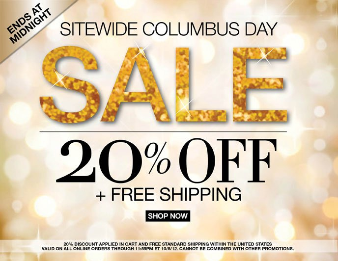 Ends at Midnight Columbus Day Sale: 20% Off + Free Shipping