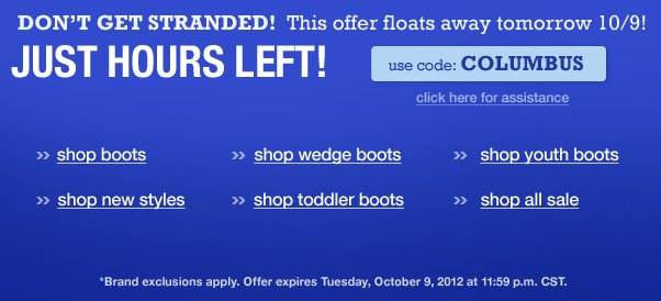 Columbus Day sale ends soon - Don't be stranded!