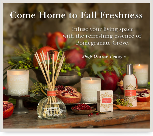 Infuse your living space with the refreshing essence of Pomegranate Grove. Shop Online.