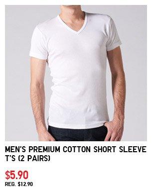 Men's Premium Cotton Short Sleeve T's (2  Pairs)$5.90 REG. $12.90