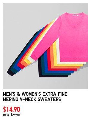 Men's & Women's Extra Fine Merino V-Neck  Sweaters $14.90 REG. $29.90