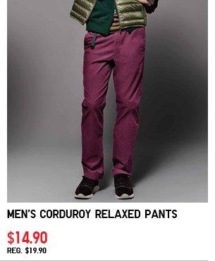 Men's Corduroy Relaxed Pants $14.90 REG.  $19.90