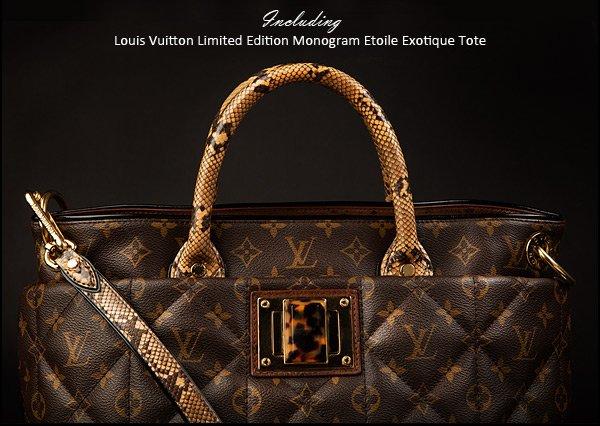 Including Louis Vuitton Limited Edition Monogram Etoile Exotique Tote.