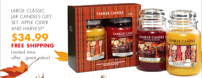LARGE CLASSIC JAR CANDLES GIFT SET - APPLE CIDER AND HARVEST® $34.99 FREE SHIPPING Limited time offer…great value!