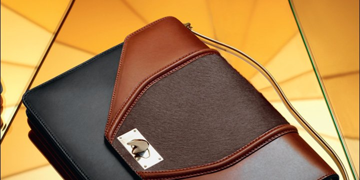 GIVENCHY Leather and Calf Hair  Flap Bag with Shark Tooth Closure and Metal Chain Strap