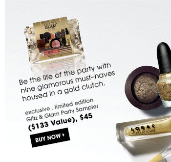Be the life of the party with nine glamorous must-haves housed in a gold clutch. exclusive . limited edition | Glitz And Glam Party Sampler ($133 Value), $45 Buy Now.