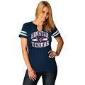 Houston Texans Navy Women's Go For Two II Split Neck T-Shirt