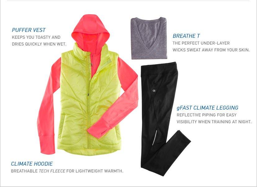 PUFFER VEST - BREATHE T - gFAST CLIMATE LEGGING
