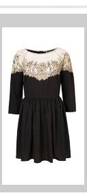 3/4 Sleeve Lace Insert Dress