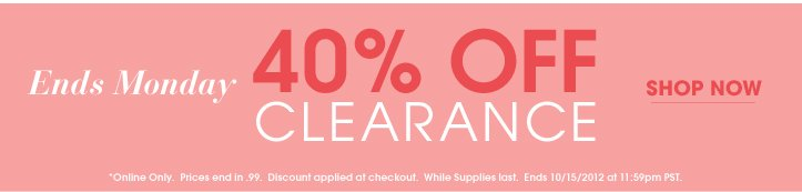 Additional 40% Off Clearance